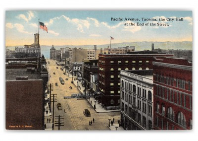Tacoma, Washington, birds eye Pacific Avenue
