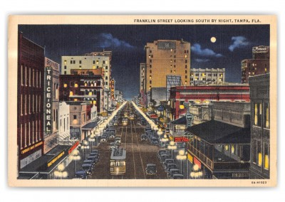Tampa, Florida, Franklin Street looking south at night