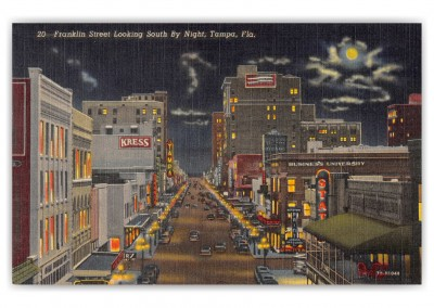 Tampa, Florida, South Frankling STreet at night