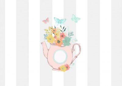 illustration tea pot with flowers