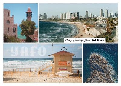 photocollage of Tel Aviv-Yafo Isreal beach