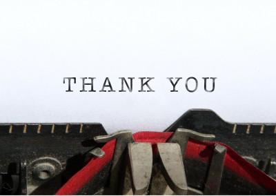 thank you written on letter paper in typewriter