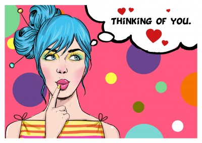 illustration frau mit sprechblae thinking of you postkarte