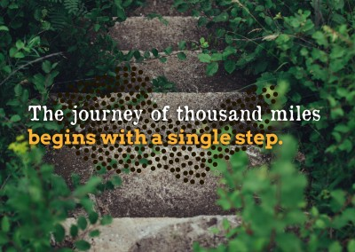 Postkarte Spruch The journey of a thousand miles begins with a single step