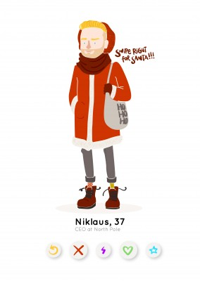 Hipster Santa with Tinder buttons