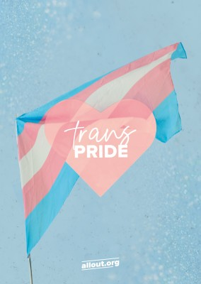 greeting card ALL OUT trans pride