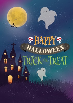 Happy halloween card with ghost, skull and quote happy halloween - Trick or treat