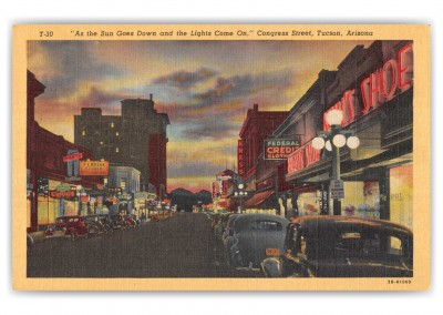 Tucson, Arizona, Congress Street at sunset