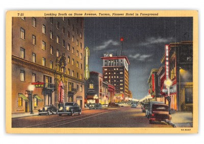 Tucson, Arizona, Looking south on Stone Avenue at night