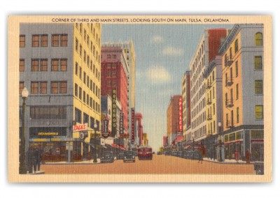 Tulsa, Oklahoma, Corner of Third and Market Streets looking south