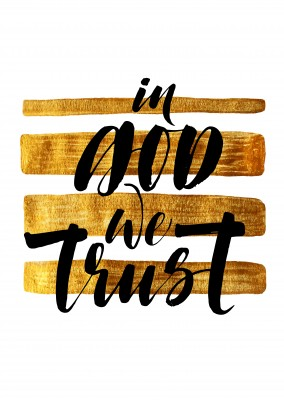 In god we trust: black calligraphy lettering on golden striped background