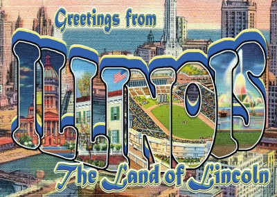 vintage greeting card Illinois