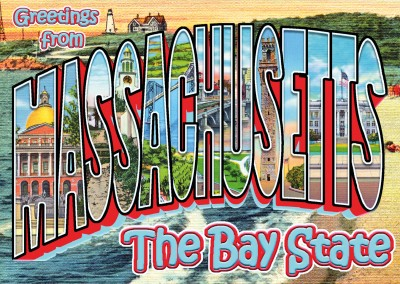 Massachusetts vintage greeting card