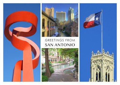 Photocollage of San Antonio River Walk, torch and flag
