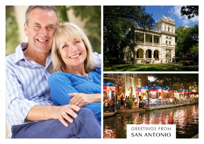 Photocollage of San Antonio River Walk and mansion
