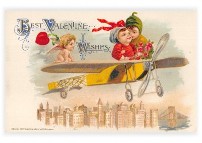 Mary L. Martin Ltd. vintage Postkarte Best Valentine wishes