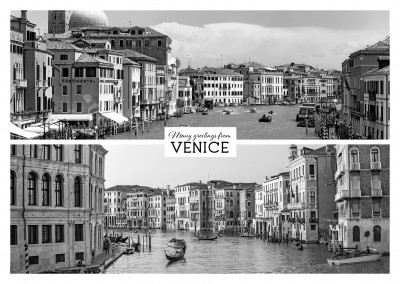 Postcard with two black and white photos of Venice