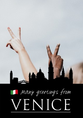 Venice silhouette in black with italian flag