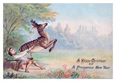 Vintage illustration boy reindeer