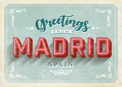 Vacation greeting cards mypostcard designs vintage style postkarte madrid m4hsunfo