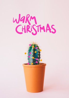 Tiny cactus with christmas lights, warm christmas