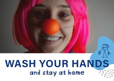 Postkarte Wash your hands and stay at home