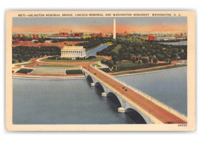 Washington DC, Arlington Memorial Bridge birds eye