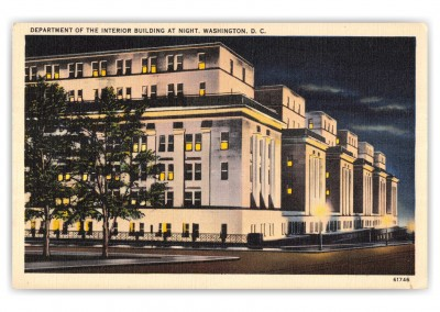 Washington DC, Department of the Interior at night
