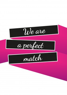 Perfect match-Love quote on pink and black bars–mypostcard