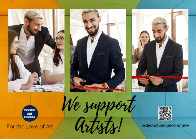 Postkarte Project Art Lounge For the Love of Art We Support Artists