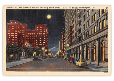 Wilmington, Delaware, Market Street and Rodney Square at night