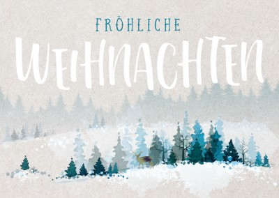 Illustration Rentier in Winterlandschaft