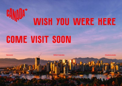 postcard saying Wish you were here. Come visit soon, Vancouver, British Columbia - Destination Canada