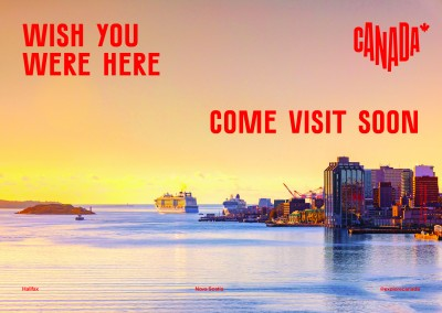 postcard saying Wish you were here. Come visit soon, Halifax, Nova Scotia - Destination Canada