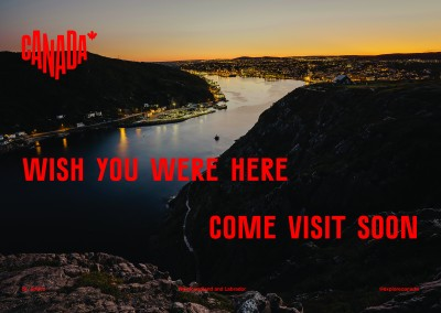 postcard saying Wish you were here. Come visit soon, St. John's, Newfoundland and Labrador - Destination Canada