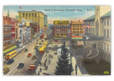 Worcester, Massachusetts, birds-eye view of Downtown