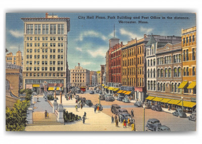 Worcester, Massachusetts, City Hall Plaza, Park and Post Office