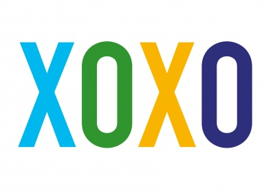 xoxo coloured lettering on white ground
