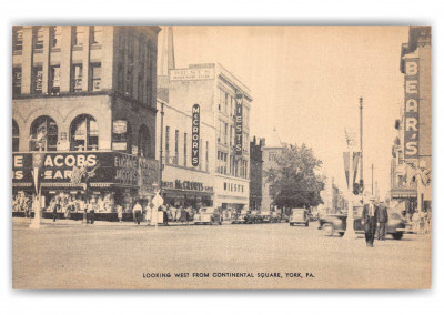 York, Pennsylvania, looking west from continental square