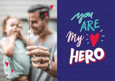 YOU ARE MY HERO handwritten on blue background