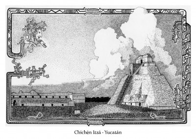 Vintage Illustration Chichén Itzá