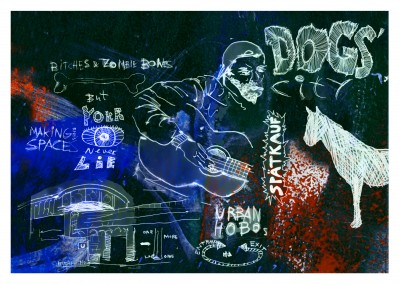 Belrost collage das Zong dog's city mit illustration von Hund, Penner, Berlin UBahn